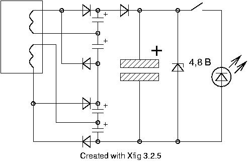 схема питания светодиодов фонарика с аккумулятором.